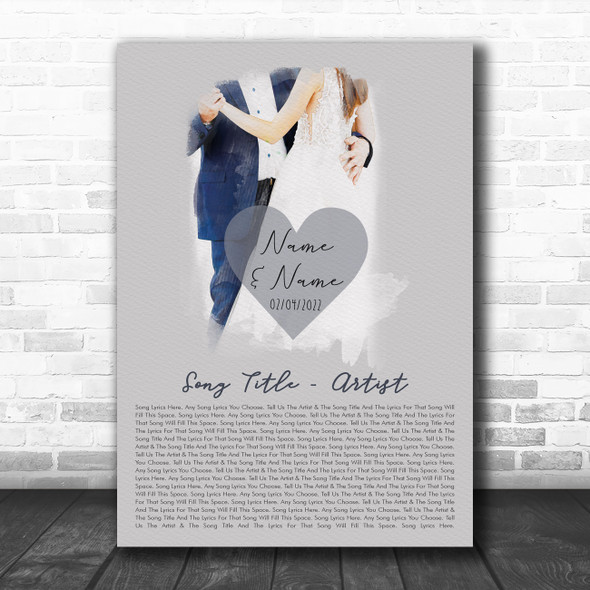 Bride Groom Wedding First Dance Any Song Lyric Personalized Music Wall Art Print