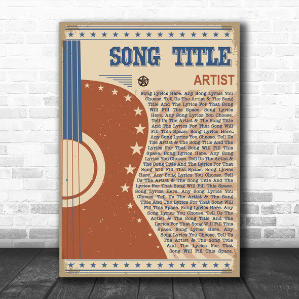 Country Western Festival Guitar Any Song Lyric Personalized Music Wall Art Print