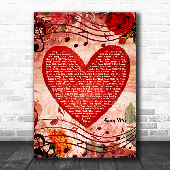 Deep Red Romantic Floral Heart Any Song Lyric Personalized Music Wall Art Print
