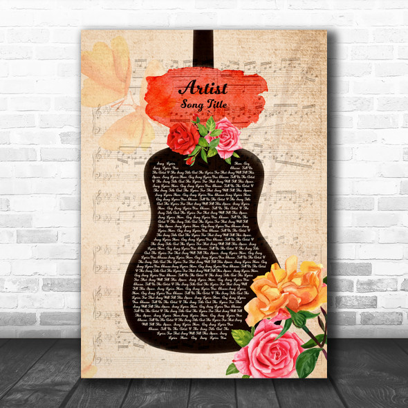 Floral Rose Guitar Script Any Song Lyric Personalized Music Wall Art Print