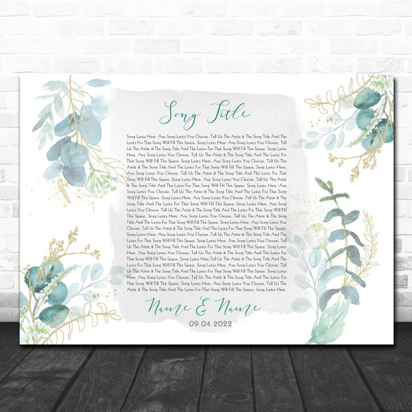 Green & Gold Watercolour Leaves Any Song Lyric Personalized Music Wall Art Print