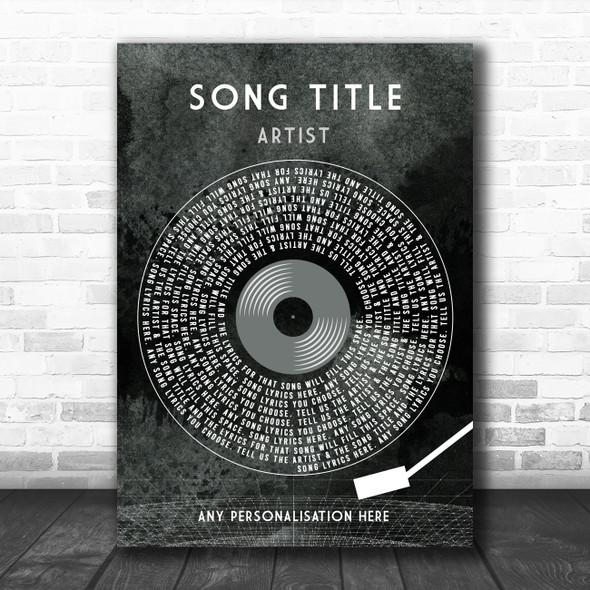 Grunge Grey Vinyl Record & Needle Any Song Lyric Personalized Music Art Print