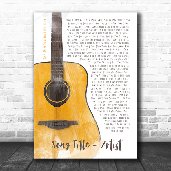 Acoustic Guitar Watercolour Any Song Lyric Personalized Music Wall Art Print