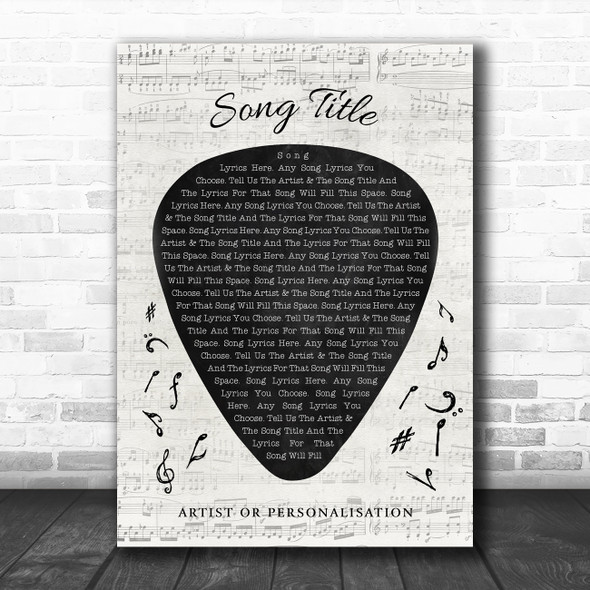 Guitar Pick Plectrum Any Song Lyric Personalized Music Wall Art Print