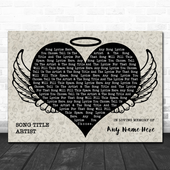Heart Angel Wings Halo Memorial Any Song Lyric Personalized Music Wall Art Print