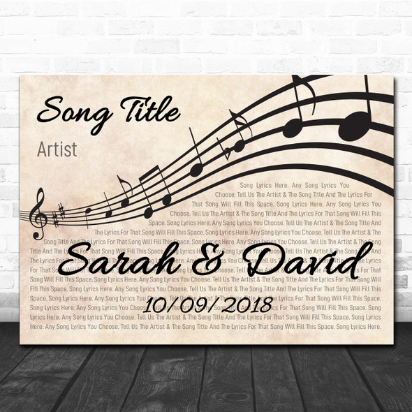 Landscape Wavy Music Notes Names & Dates Any Song Lyric Personalized Music Print
