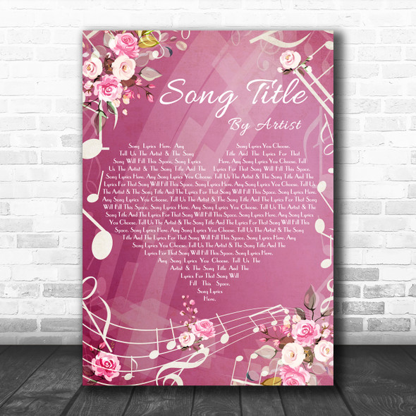 Pink Floral Music Notes Heart Any Song Lyric Personalized Music Wall Art Print