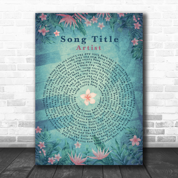 Pink Flowers Shabby Chic Vintage Vinyl Record Any Song Lyric Personalized Print