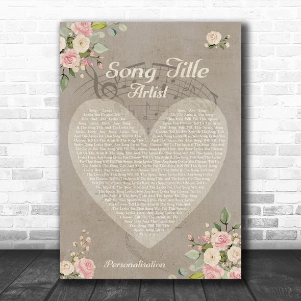 Shabby Chic Floral Heart Grey Any Song Lyric Personalized Music Wall Art Print