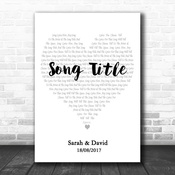 Simple Heart Pale Grey White Any Song Lyric Personalized Music Wall Art Print