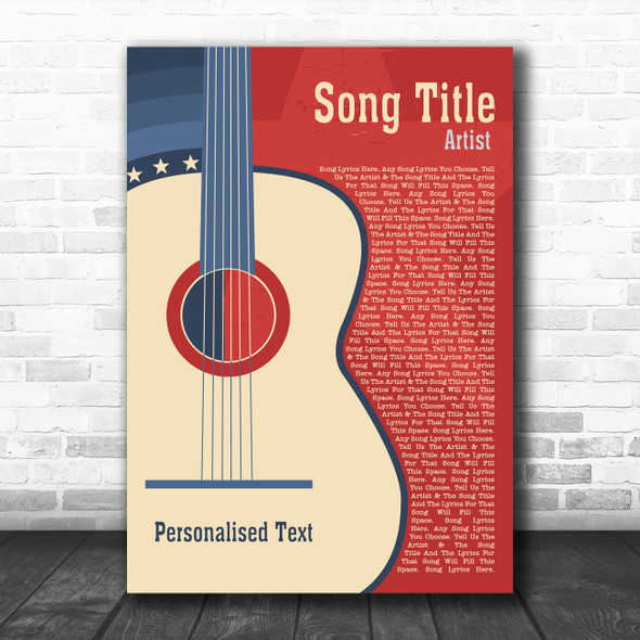 USA Red Blue Country Western Guitar Any Song Lyric Personalized Music Art Print