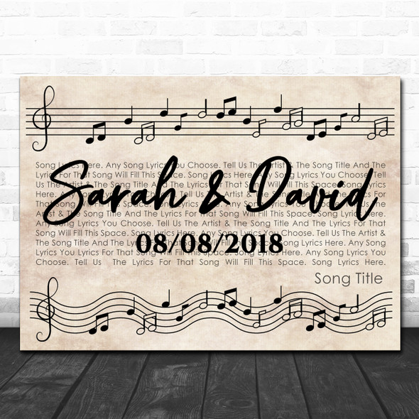 Vintage Landscape Music Notes Script Any Song Lyric Personalized Music Art Print