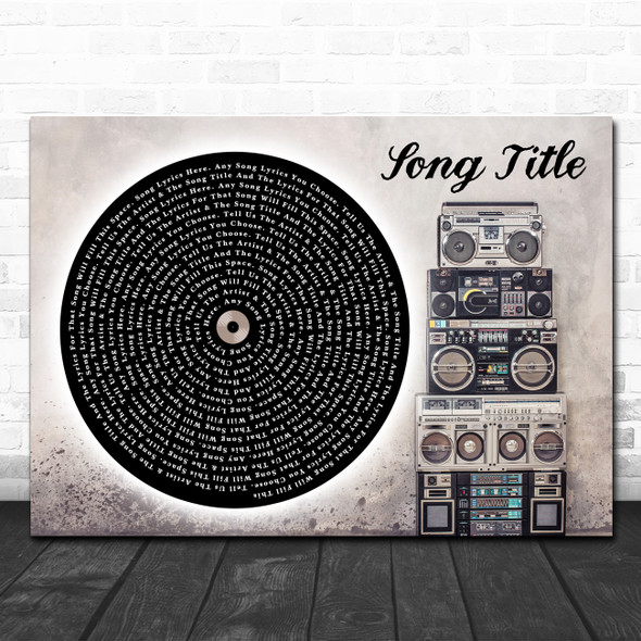 Vinyl Record & Boom Box Any Song Lyric Personalized Music Wall Art Print