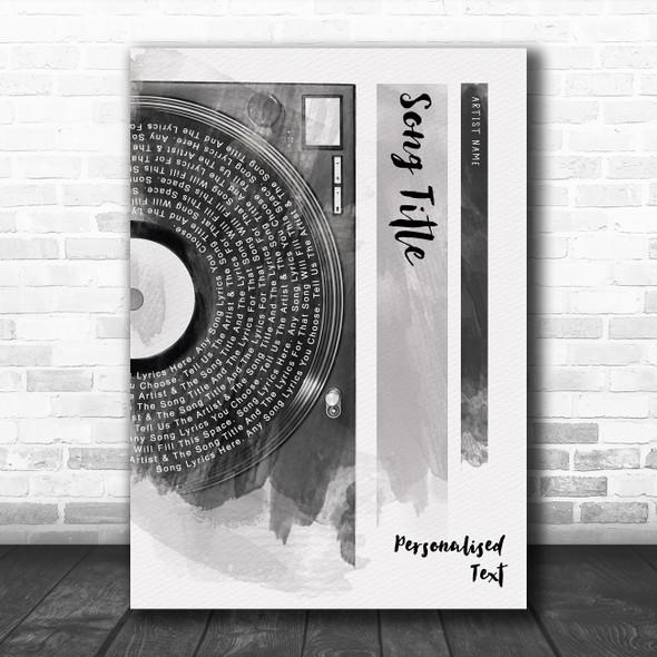 Vinyl Record Half Lyrics Black White Grey Any Song Lyric Personalized Print