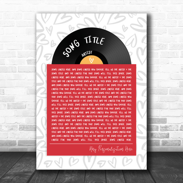 Vinyl Record In Sleeve Hearts Any Song Lyric Personalized Music Wall Art Print
