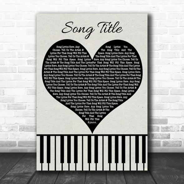 Black Heart & Piano Keys Any Song Lyric Personalized Music Wall Art Print