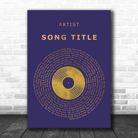Blue & Copper Gold Vinyl Record Any Song Lyric Personalized Music Wall Art Print