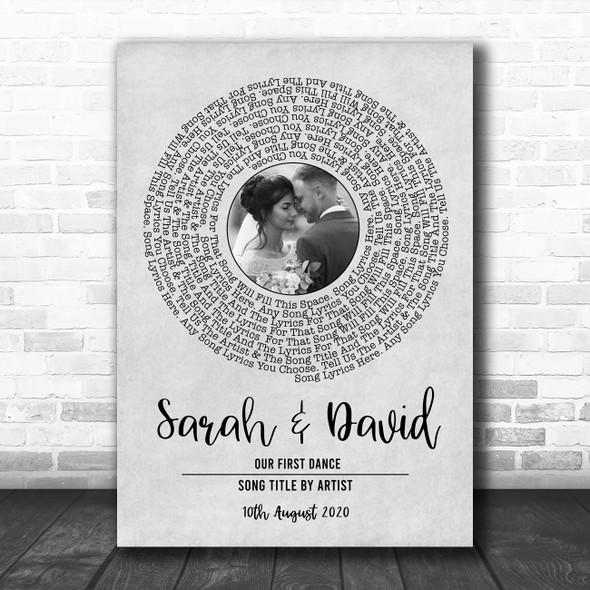 Grey Vinyl Record Wedding First Dance Photo Any Song Lyric Wall Art Print