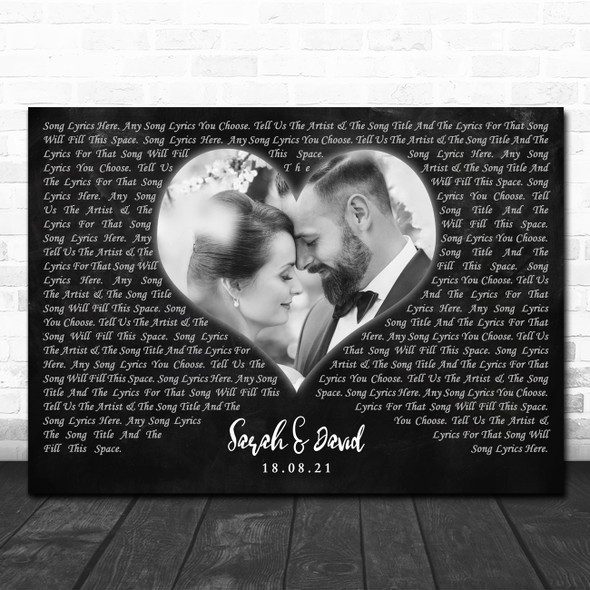 Landscape Black Heart Wedding Photo Any Text Any Song Lyric Wall Art Print