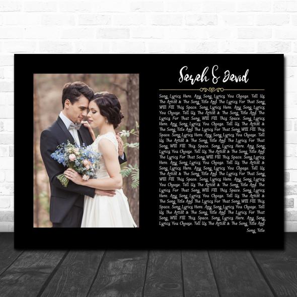 Black Landscape Script Rectangle Wedding Photo Any Song Lyric Wall Art Print
