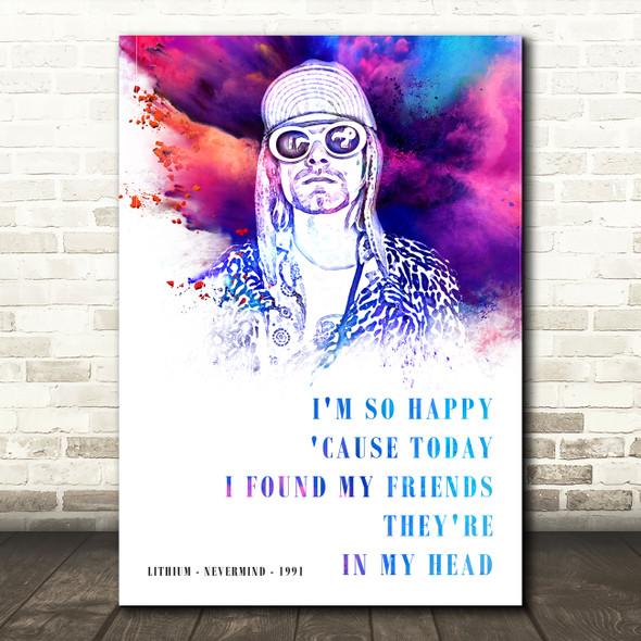 Nirvana Lithium color Splash Music Song Lyric Wall Art Print