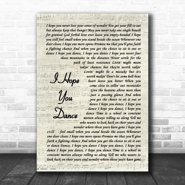Lee Ann Womack I Hope You Dance Song Lyric Vintage Script Music Wall Art Print