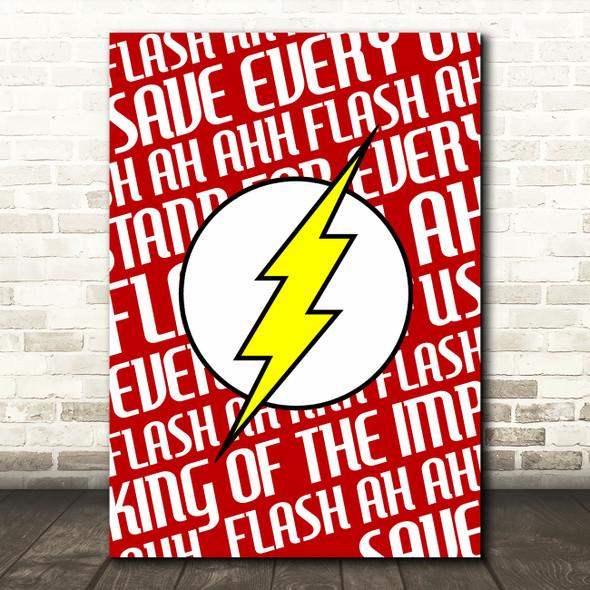 Queen Flash Lighting Bolt Music Song Lyric Wall Art Print