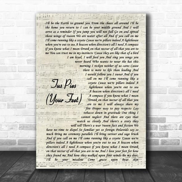 Nahko Medicine For The People Tus Pies Your Feet Vintage Script Song Lyric Music Wall Art Print