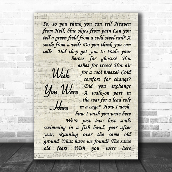 Pink Floyd Wish You Were Here Song Lyric Vintage Script Music Wall Art Print