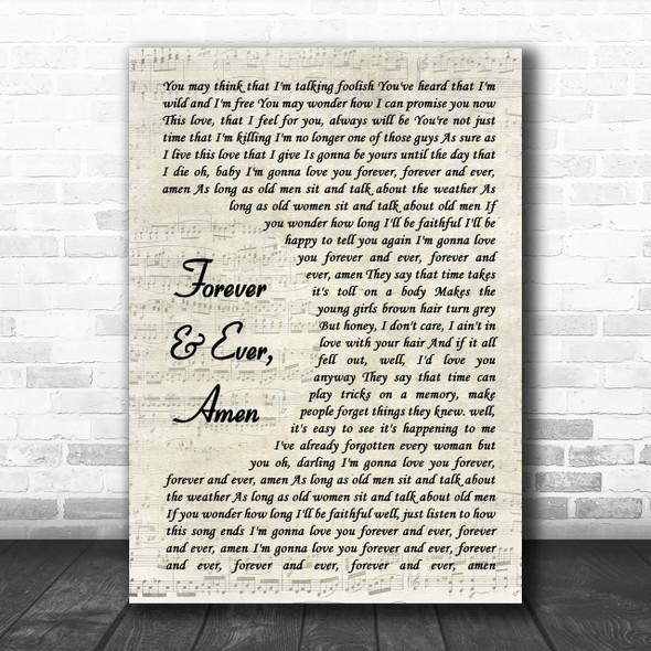 Randy Travis Forever & Ever, Amen Song Lyric Vintage Script Music Wall Art Print