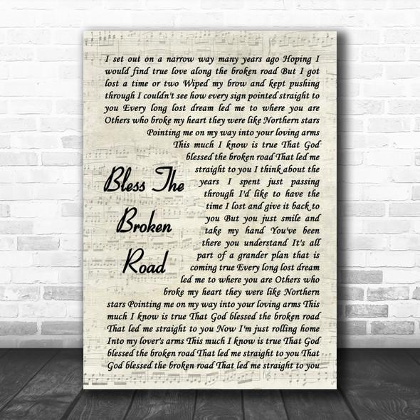 Rascal Flatts Bless The Broken Road Song Lyric Vintage Script Music Wall Art Print