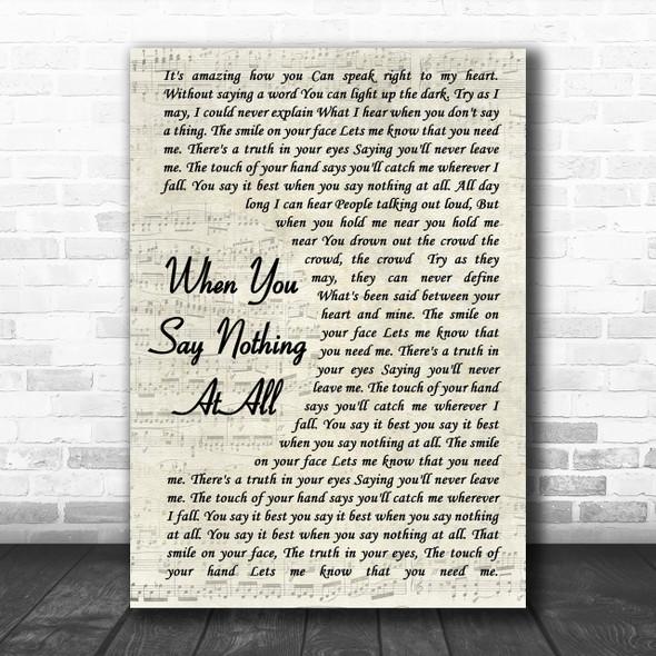 Ronan Keating When You Say Nothing At All Vintage Script Song Lyric Music Wall Art Print
