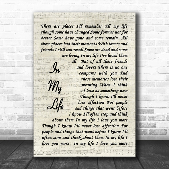 The Beatles In My Life Song Lyric Music Wall Art Print