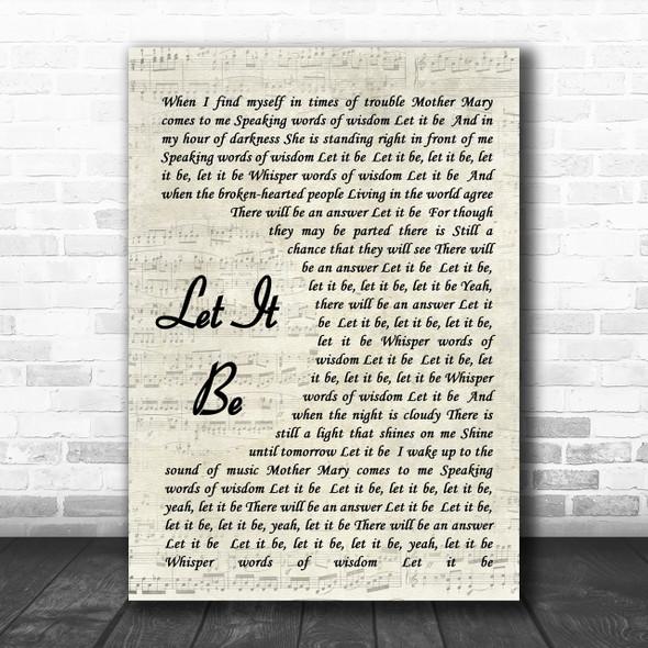 The Beatles Let It Be Vintage Script Song Lyric Music Wall Art Print