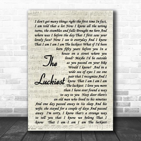 The Luckiest Ben Folds Song Lyric Vintage Script Music Wall Art Print
