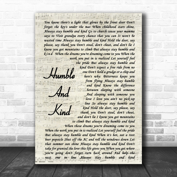 Tim McGraw Humble And Kind Vintage Script Song Lyric Music Wall Art Print
