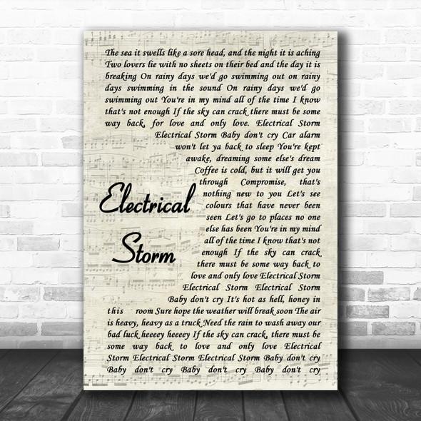 U2 Electrical Storm Vintage Script Song Lyric Music Wall Art Print