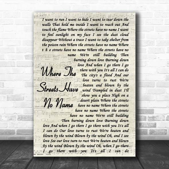 U2 Where The Streets Have No Name Vintage Script Song Lyric Music Wall Art Print
