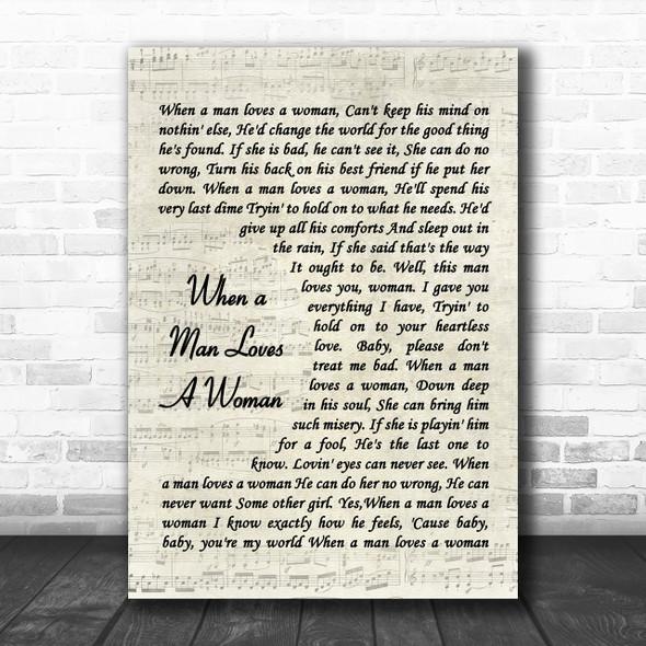 When A Man Loves A Woman Percy Sledge Song Lyric Vintage Script Music Wall Art Print