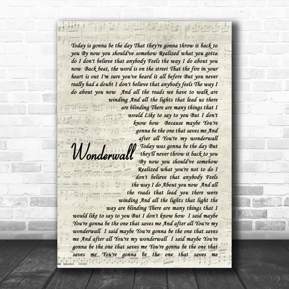 Wonderwall Oasis Script Song Lyric Music Wall Art Print