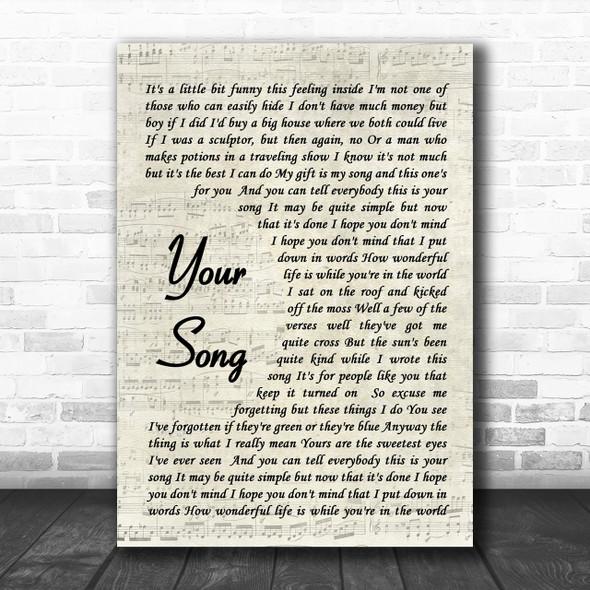 Your Song Elton John Song Lyric Vintage Script Music Wall Art Print