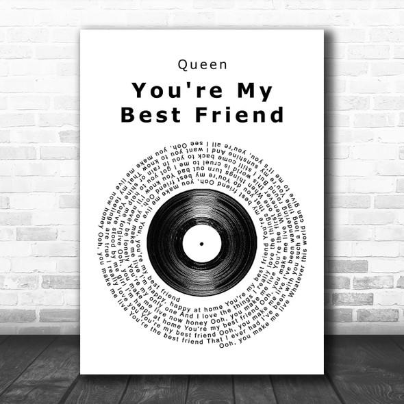 Queen You're My Best Friend Vinyl Record Song Lyric Music Wall Art Print