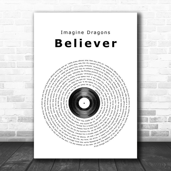 Imagine Dragons Believer Vinyl Record Song Lyric Music Wall Art Print
