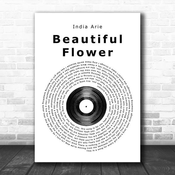 India Arie Beautiful Flower Vinyl Record Song Lyric Music Wall Art Print