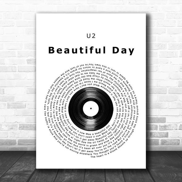 U2 Beautiful Day Vinyl Record Song Lyric Music Wall Art Print