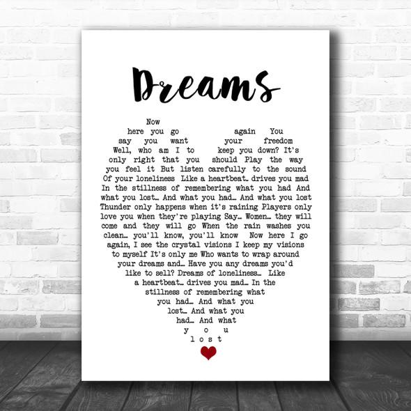 Dreams Fleetwood Mac Song Lyric Heart Music Wall Art Print