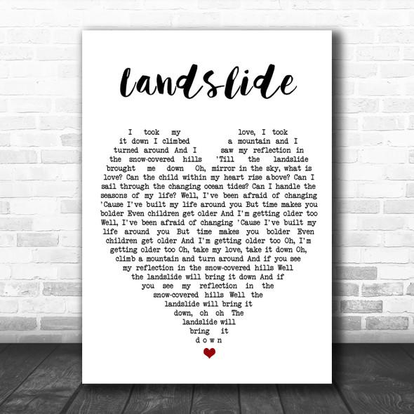 Landslide Fleetwood Mac Song Lyric Heart Music Wall Art Print
