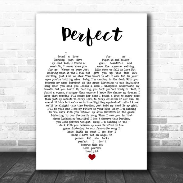 Perfect Ed Sheeran Song Lyric Heart Music Wall Art Print