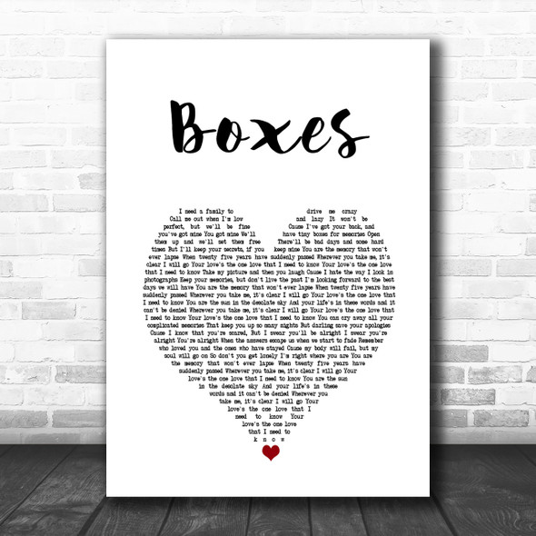 Goo Goo Dolls Boxes Heart Song Lyric Music Wall Art Print
