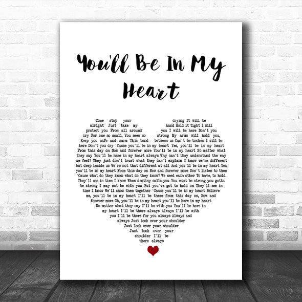 Phil Collins You'll Be In My Heart White Heart Song Lyric Music Wall Art Print